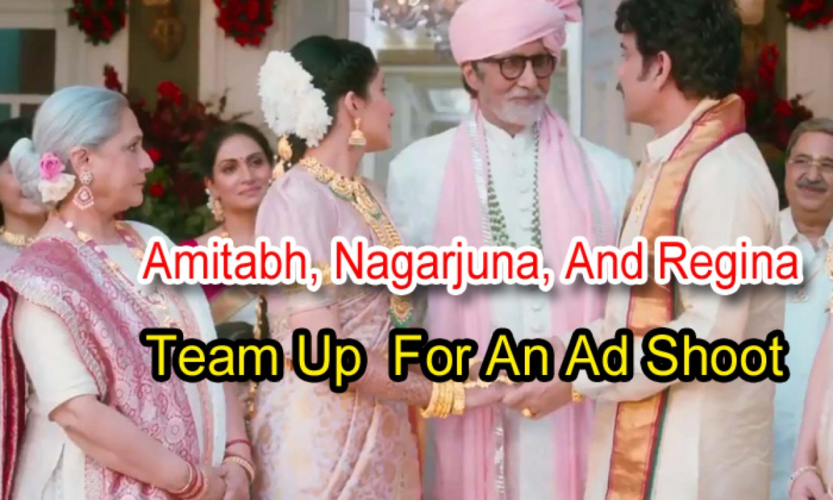 Amitabh, Nagarjuna, And Regina Team Up For An Ad Shoot-TeluguStop.com