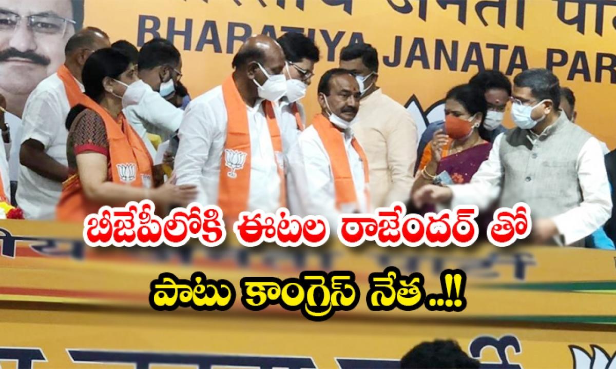 Eetela Rajendar And Congress Leader Join In Bjp-బీజేపీలోకి ఈటల రాజేందర్ తో పాటు కాంగ్రెస్ నేత ..-Political-Telugu Tollywood Photo Image-TeluguStop.com