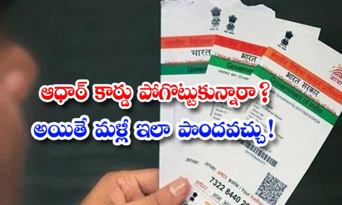 If You Lost Your Aadhar Card Here Is The Process That How To Get Online-ఆధార్ కార్డు పోగొట్టుకున్నారా అయితే, మళ్లీ ఇలా పొందవచ్చు-General-Telugu-Telugu Tollywood Photo Image-TeluguStop.com