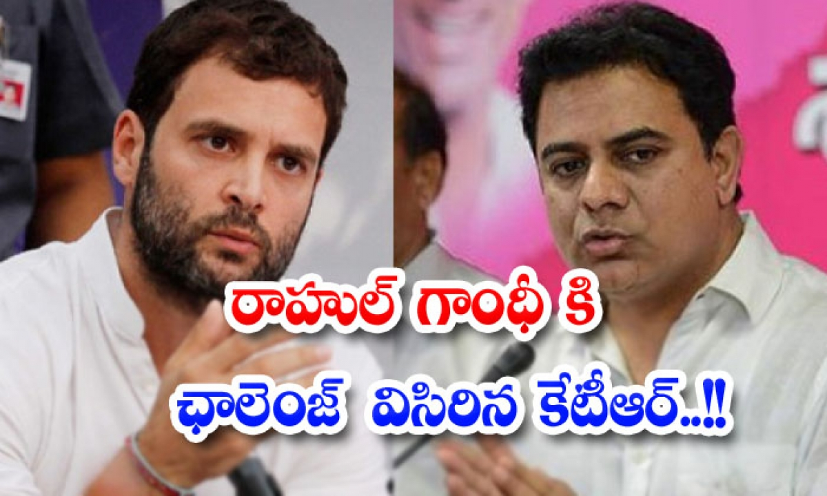 Ktr Throws Challenge To Rahul Gandhi-రాహుల్ గాంధీ కి ఛాలెంజ్ విసిరిన కేటీఆర్..-Political-Telugu Tollywood Photo Image-TeluguStop.com