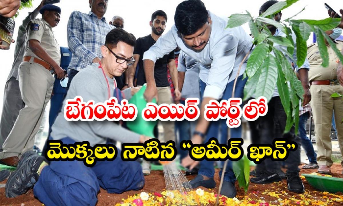Bollywood Hero Ameer Khan Planted Trees In Begumpet Airport-బేగంపేట ఎయిర్ పోర్ట్ లో మొక్కలు నాటిన అమీర్ ఖాన్-Latest News - Telugu-Telugu Tollywood Photo Image-TeluguStop.com