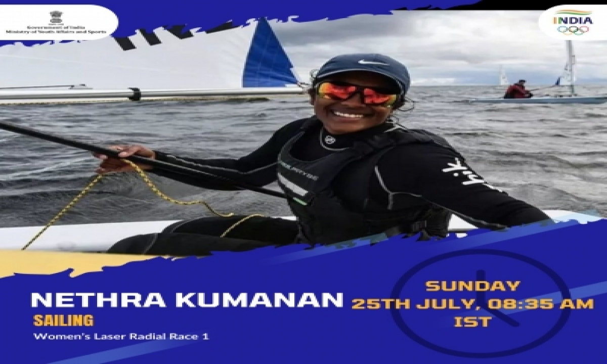 India's Nethra Competing Against Sailors, Nature In Tokyo-TeluguStop.com