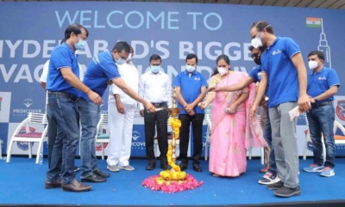 Mega Vaccination Drive Held At Hitex, Hyderabad-TeluguStop.com