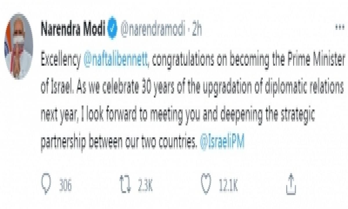 Pm Modi Expresses Gratitude For Netanyahu, Congratulates Bennett-TeluguStop.com