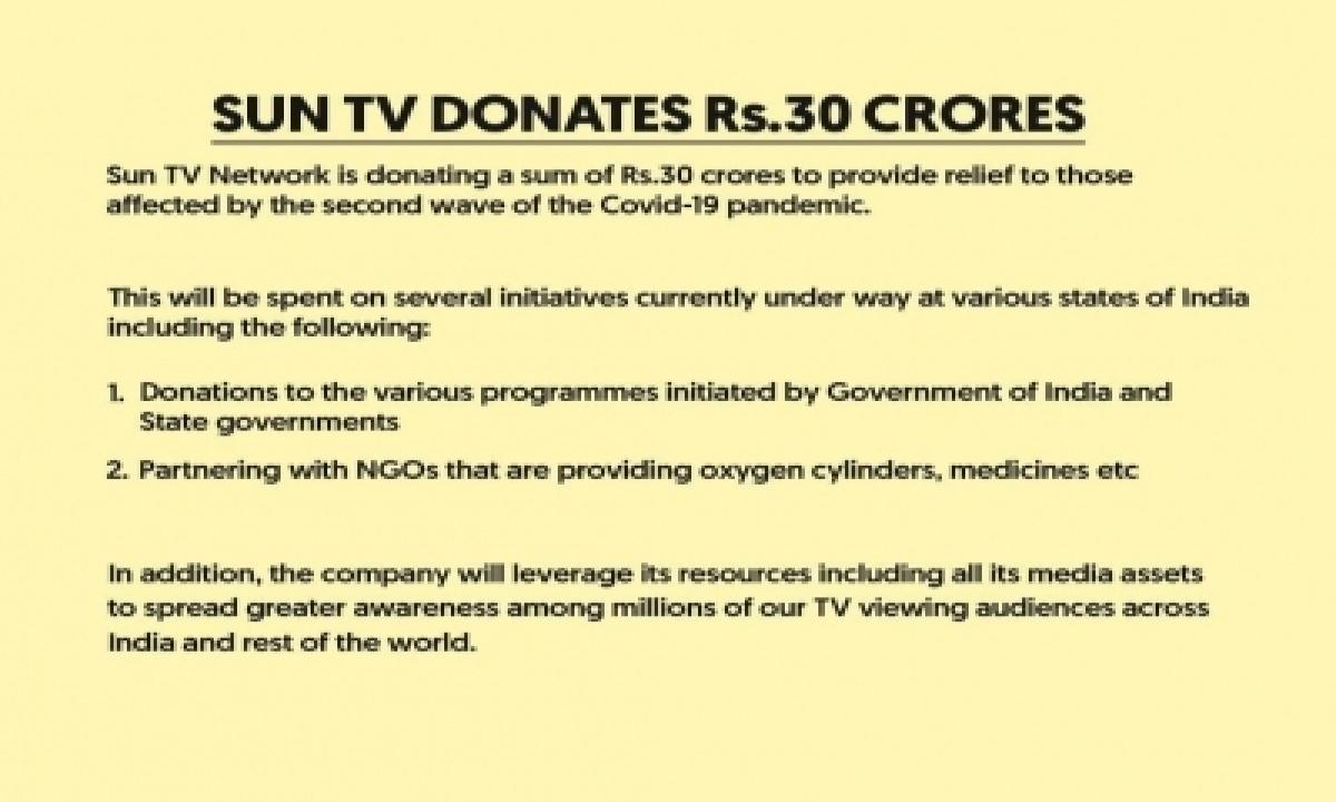 Sun Tv Donates 30 Crore For Covid-affected-TeluguStop.com