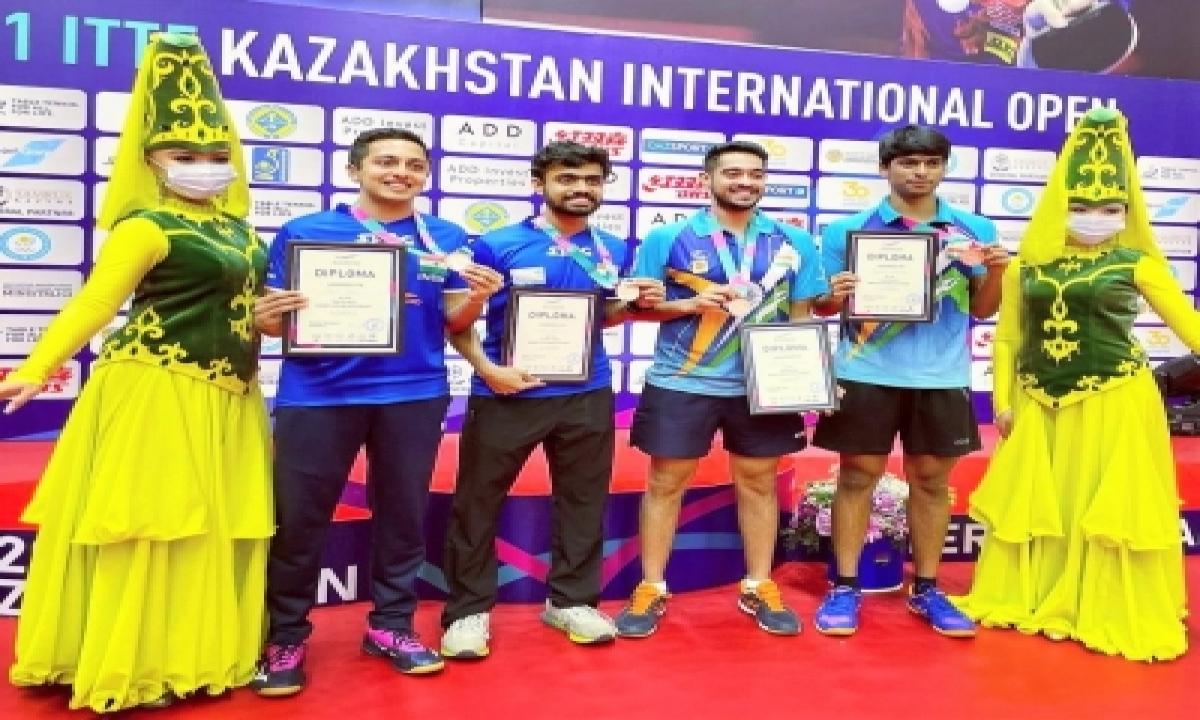 Tt Players Siddhesh-mudit And Snehit-sudhanshu Bag Bronze Medals In Kazakhstan-TeluguStop.com