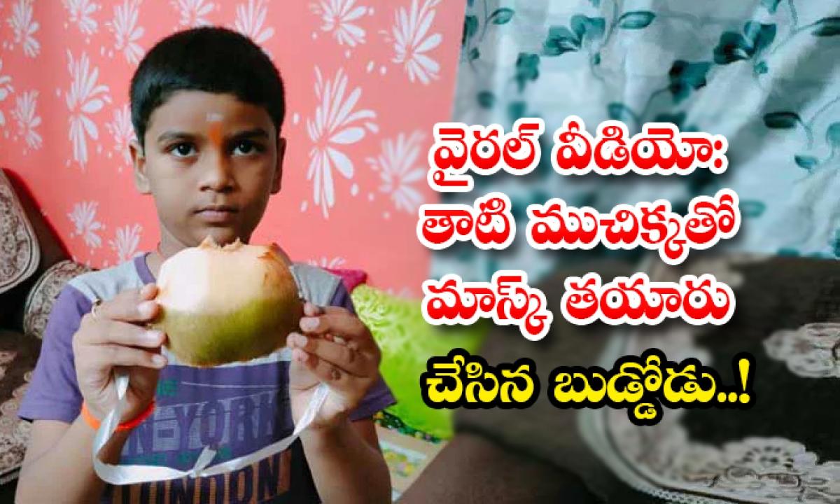 Viral Video Boy Prepared Corona Mask With Palm Fruit-వైరల్ వీడియో: తాటి ముచిక్కతో మాస్క్ తయారు చేసిన బుడ్డోడు..-General-Telugu-Telugu Tollywood Photo Image-TeluguStop.com