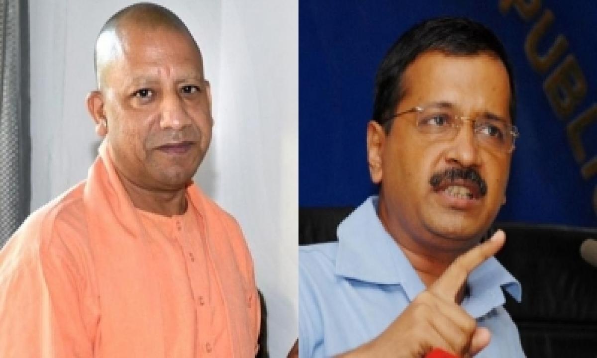 Yogi Vs Kejriwal Over Ganga Vs Yamuna Issue-TeluguStop.com