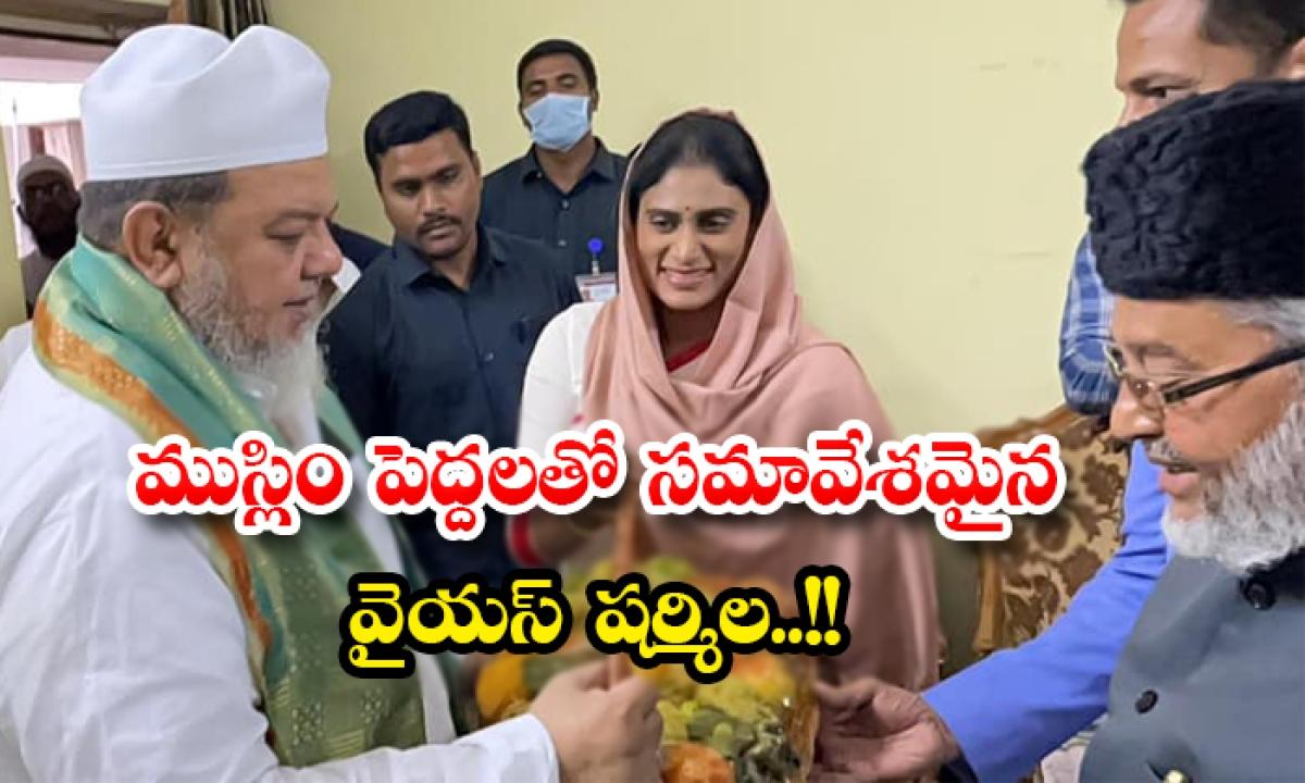 Ysrtp President Ys Sharmila Meets Muslim Elders In Hyderabad-ముస్లిం పెద్దలతో సమావేశమైన వైయస్ షర్మిల..-Latest News - Telugu-Telugu Tollywood Photo Image-TeluguStop.com