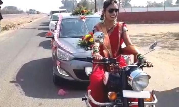 TeluguStop.com - బుల్లెట్ పై వచ్చిన పెళ్లి కూతురు… ప్రతి ఒక్క రైతు తలెత్తుకునేలా చేసిన ఈ అమ్మాయికి హ్యాట్సప్ చెప్పాల్సిందే-General-Telugu-Telugu Tollywood Photo Image