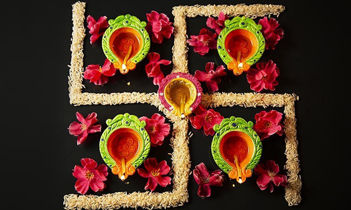 Telugu Four Lines In Swasthik Symbol, Grains, Lights, Significance, Swasthi Rangoli With Grains, Swasthik, Swasthik Symbol Importance-Telugu Bhakthi
