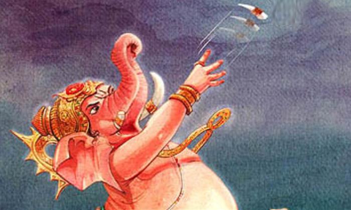 Telugu Breaking Tooth, Ganapathi, Lord Ganapathi, Lord Ganesha Ekadantaha Story, Parashurama, Vinayaka And Parashurama Fighting, Vinayaka Story-Telugu Bhakthi
