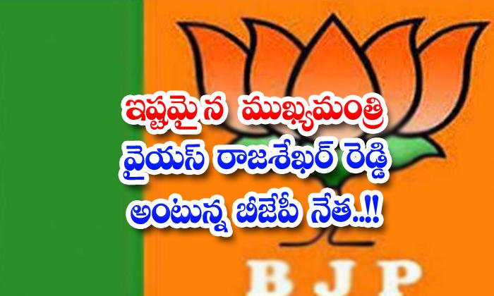 TeluguStop.com - Favorite Chief Minister Ys Rajasekhar Reddy Says Bjp Leader