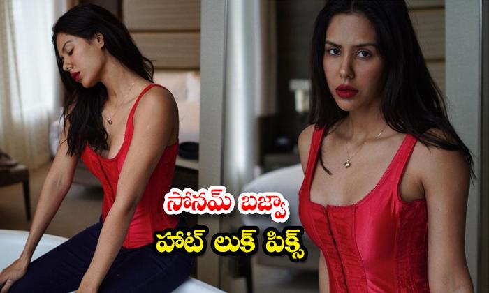 Beauty Sonam Bajwa hearts racing with her romantic red top images-సోనమ్ బజ్వా హాట్ లుక్ పిక్స్