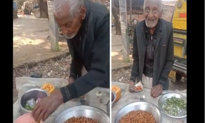 Ups 98 Year Old Man Defies Age To Sell Channa-ఆ తాత వయసు 98 అయినా పనిలో ఆయనకీ ఆయనే సాటి-General-Telugu-Telugu Tollywood Photo Image-TeluguStop.com