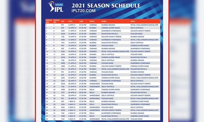 Ipl 2021 Schedule Released-ఐపీఎల్ 2021 షెడ్యూల్ వచ్చిందోచ్..-General-Telugu-Telugu Tollywood Photo Image-TeluguStop.com
