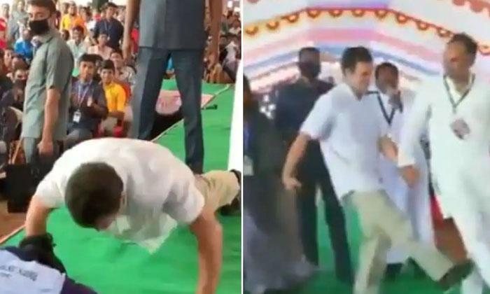 Viral Video About Rahul Pushups-వీడియో వైరల్: రాహుల్ తో పుష్ అప్స్ పోటీ పడిన టెన్త్ అమ్మాయి.. చివరకి..-General-Telugu-Telugu Tollywood Photo Image-TeluguStop.com