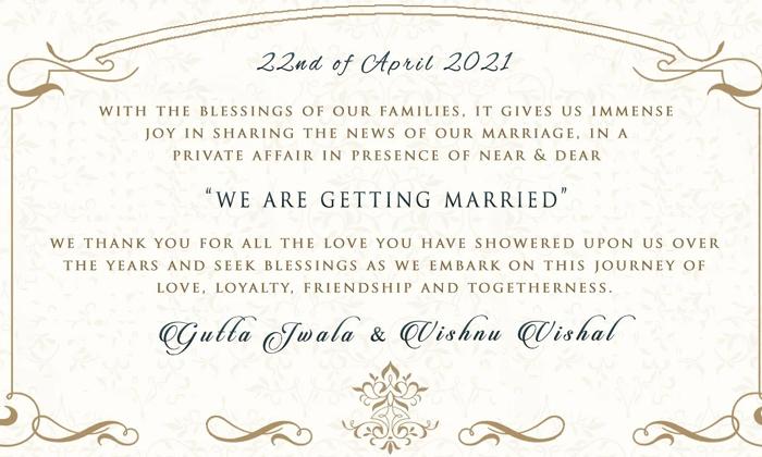 Guttajwala Announces Wedding Date-పెళ్లి తేదీని ప్రకటించిన గుత్తాజ్వాల..-General-Telugu-Telugu Tollywood Photo Image-TeluguStop.com