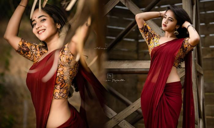 Artist Deepthi Sunaina Hot Saree Photos Viral On Internet-telugu Actress Hot Photos Artist Deepthi Sunaina Hot Saree Pho High Resolution Photo
