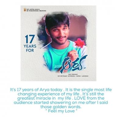Arya' Turns 17: Allu Arjun Recalls How Film Changed His Course As An Actor-Cinema/ShowBiz News-Telugu Tollywood Photo Image-TeluguStop.com