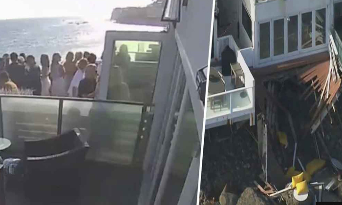 Viral Video Balcony Collapses Malibu Beach-TeluguStop.com