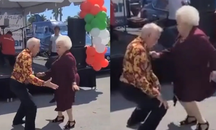 Viral Video Elderly Couple Dancing With Class Steps-TeluguStop.com