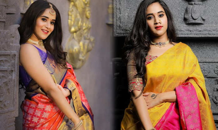 Artist Deepthi Sunaina Treditional Attire - Telugu Artist Deepthi Sunaina Hot Saree Photos Viral On Internet Sizzling I High Resolution Photo