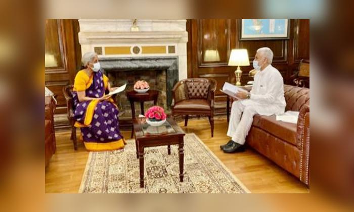 Vijayasaireddy Meets Union Finance Minister-TeluguStop.com