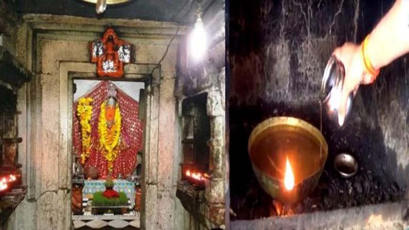 Lamp Burns With Water In Gadiyaghat Mata Mandir In Madya Pradesh-TeluguStop.com