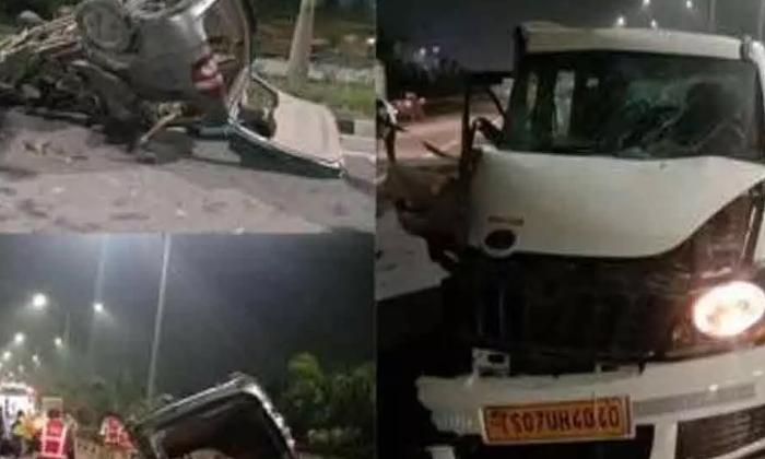 Car Accident At Orr Service Road Shamshabad-TeluguStop.com