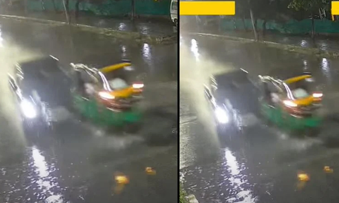 Viral Video Drunken Driver Rams Audi Car Into Auto In Hyderabad-TeluguStop.com