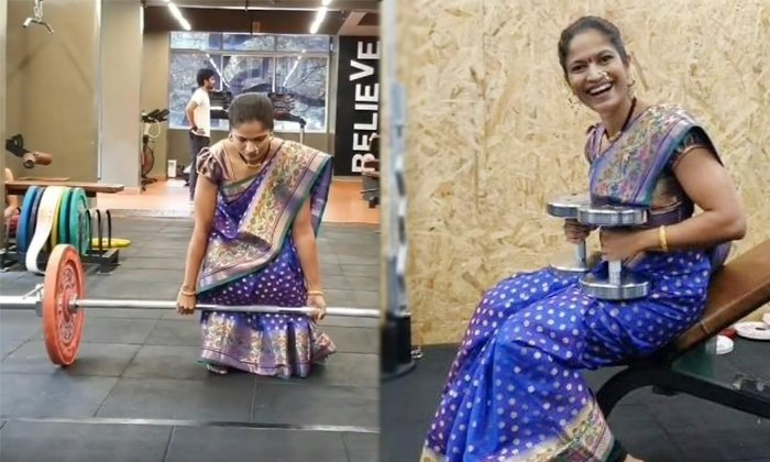 Woman Doctor Doing Workouts With Saree In Gym Viral Video-TeluguStop.com