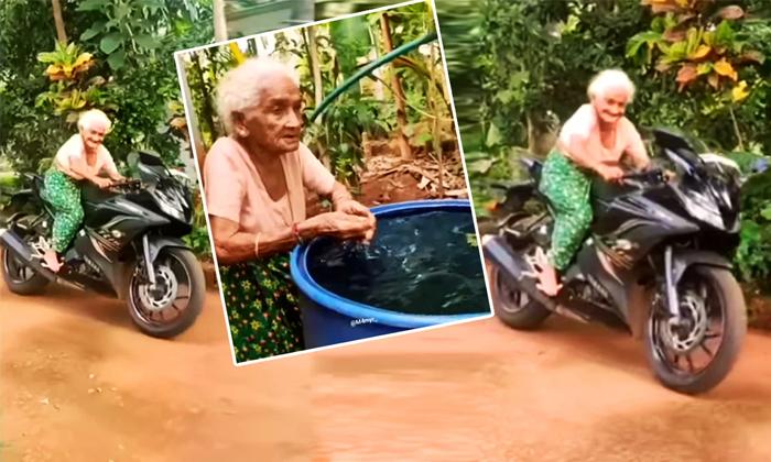 100 Years Old Woman Riding Yamaha R 15 Sports Bike-TeluguStop.com