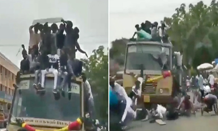People Were Sitting On The Roof Of The Bus Driver Suddenly Applies The Break All Of Them Fell Down-TeluguStop.com