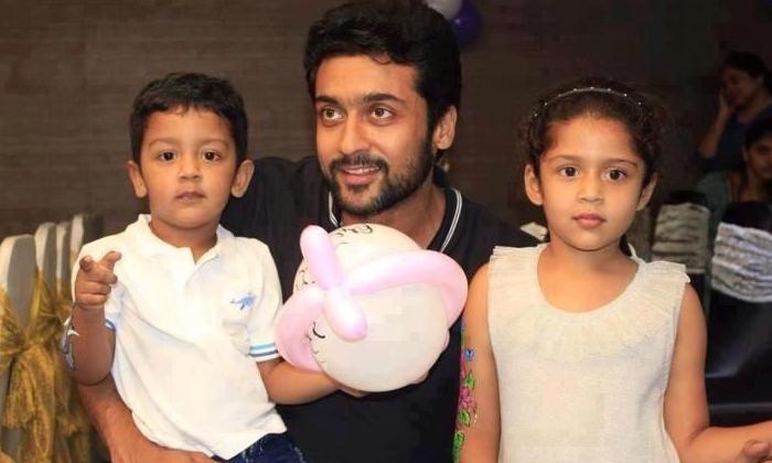 Kollywood Hero Surya Son And Daughter Photo Viral-TeluguStop.com