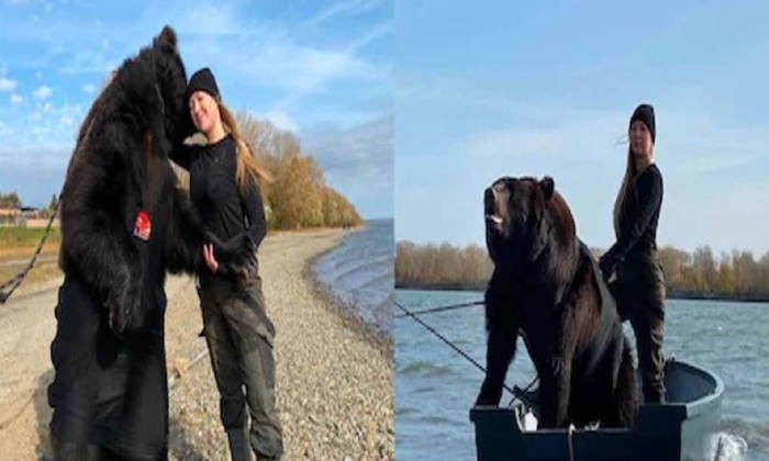 This Woman Is Friends With A Wild Bear And Now Are Inseparable-TeluguStop.com