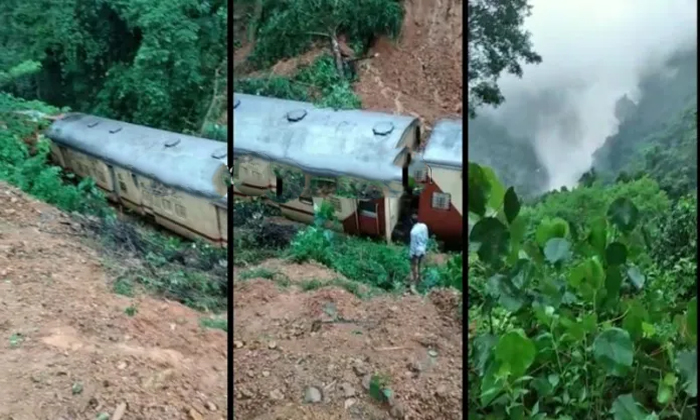 Mangalore To Mumbai Train Stopped In Goa Due To Landslide Over It-TeluguStop.com