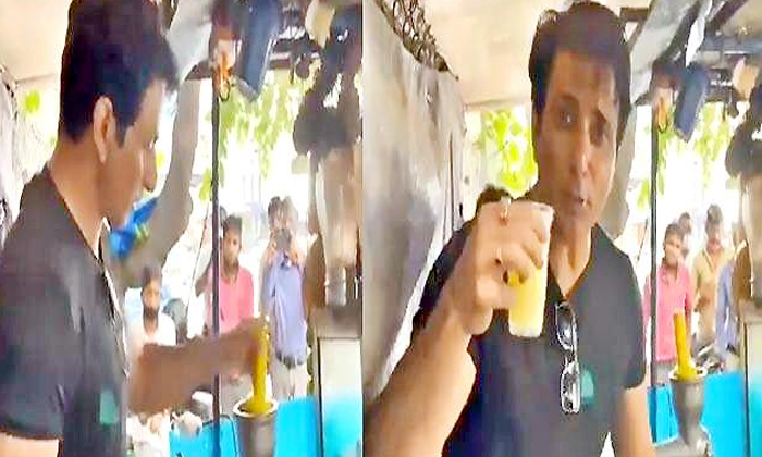 Sonusood Sell Mosambi Juice Hyderabad Video Viral-TeluguStop.com