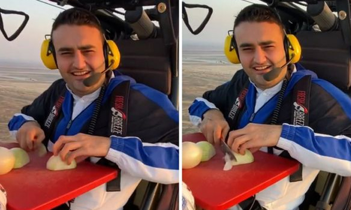 Turkeys Smiling Chef Cuts Onion Aboard A Flying Vehicle-TeluguStop.com