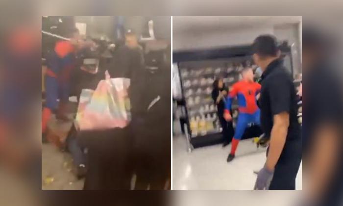 Spider Man Brawl London Supermarket Attack Viral-TeluguStop.com