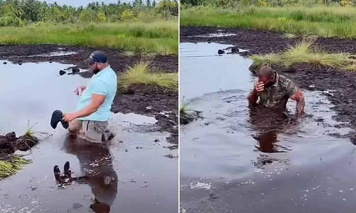 Viral Video Husband Martin Fall In Mud In Maldives Wife Happy-TeluguStop.com