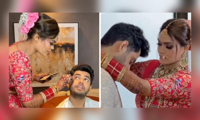 Bride Helps Her Groom Get Ready For Their Wedding-TeluguStop.com
