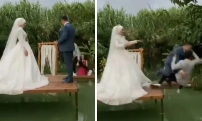 Bride Pushes Groom And Photographer Into The Water During Photoshoot-TeluguStop.com
