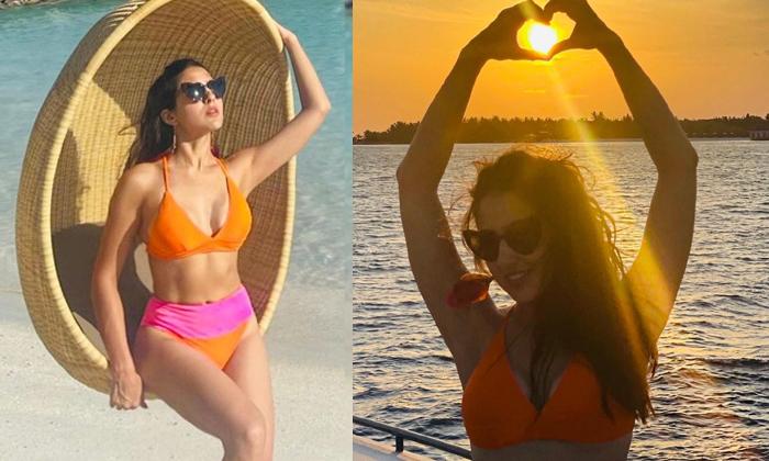 Bollywood Star Hero Daughter Sara Ali Khan Looks Stunning In Bikini Attire-TeluguStop.com
