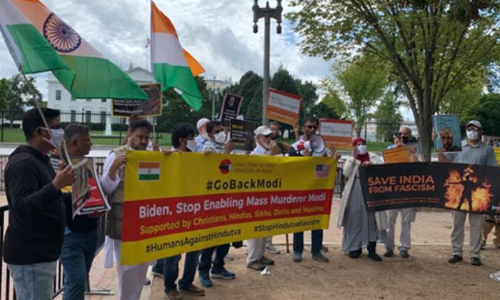 Telugu Indian Americans Protest, Indian Americans Protest Outside White House Over Modi's Visit, Indian-americans, Modi With Joe Biden, Pm Modi, Pm Modi In America, White House-Telugu NRI