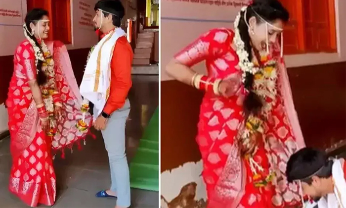 Viral The Man Who Touches The Brides Legs At The Wedding-TeluguStop.com