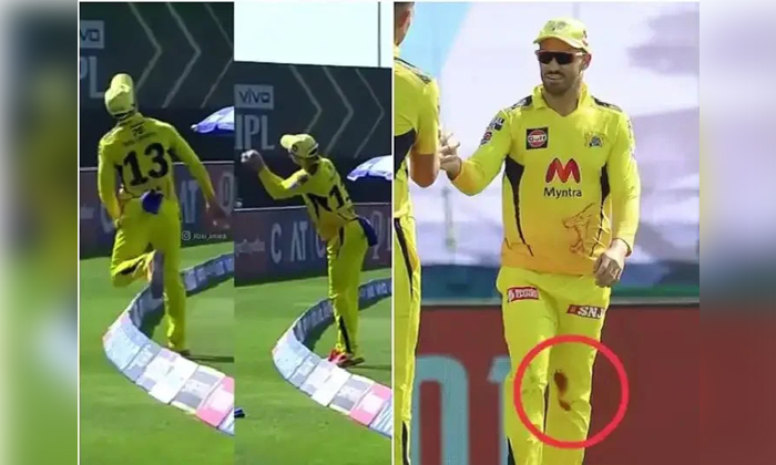 Faf Duplessis With Excellent Fielding Though His Leg Is Injured In Ipl 2021-TeluguStop.com