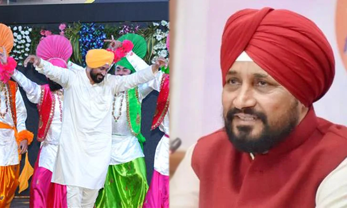Punjab New Elected Cm Charanjit Singh Channy Dance For Traditional Bhangra Dance In An Event-TeluguStop.com