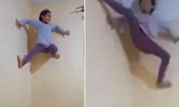 Little Girl Climbs Wall Like Spider Man Amazing Talent Baffles The Internet-TeluguStop.com